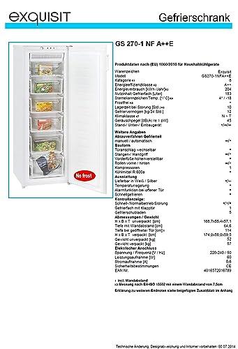 Exquisit GS270-1NFA++E Independiente Vertical 183L A++ Blanco ...