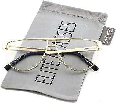 New VINTAGE RETRO Rimless SHIELD Style Clear Lens EYE GLASSES Gold Fashion Frame