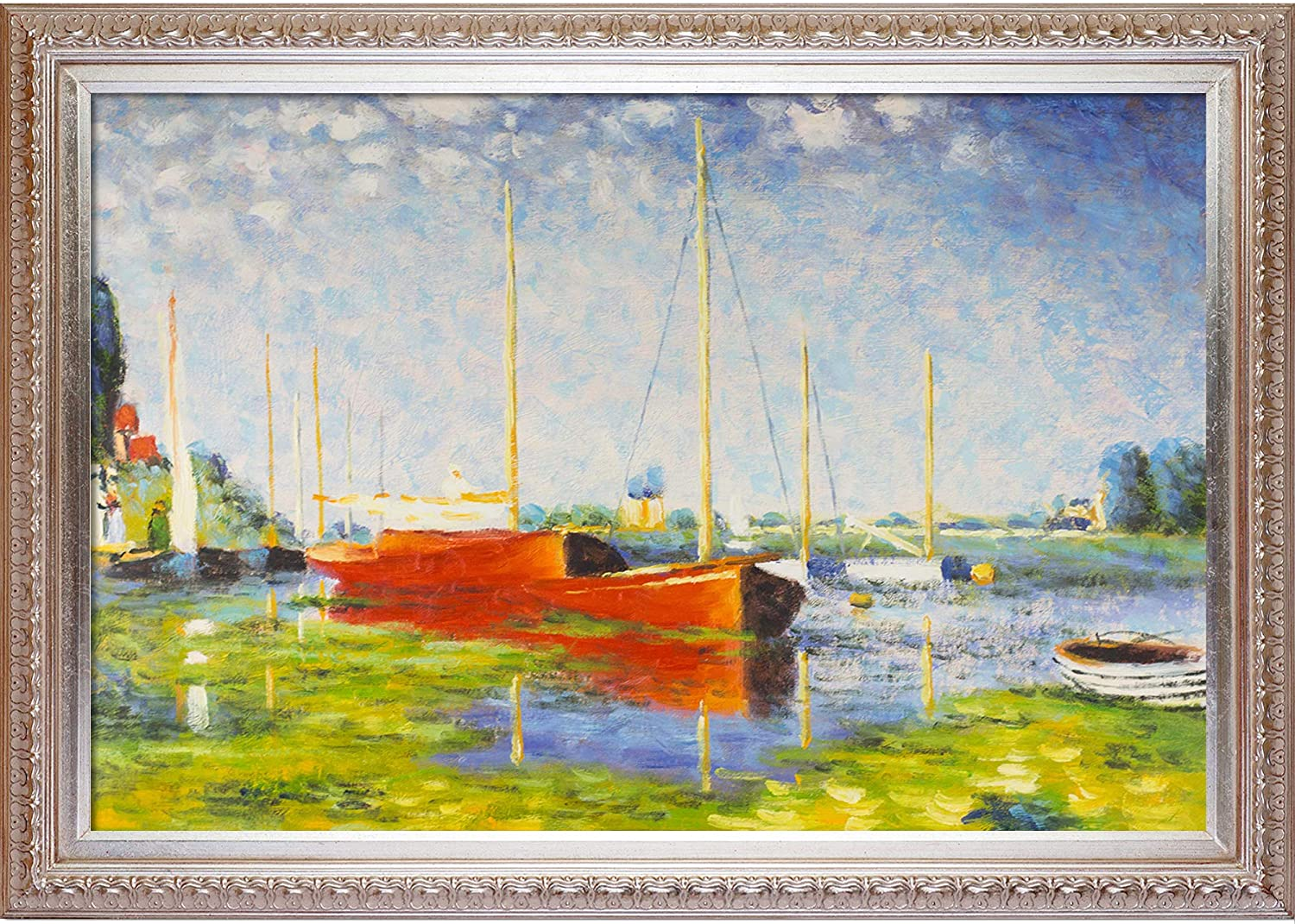 Amazon Com Overstockart Claude Monet Red Boats At Argenteuil Artwork Champagne Finish Oil Paintings Paintings