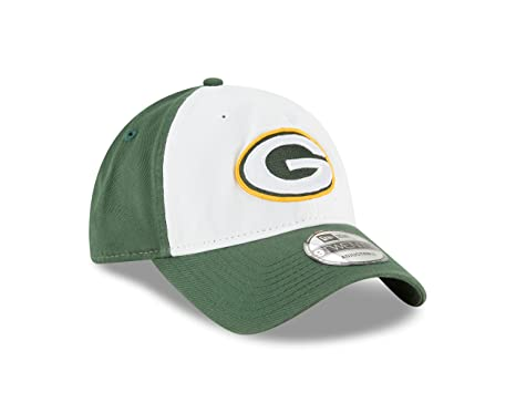b08078305 Image Unavailable. Image not available for. Color  New Era Green Bay  Packers Core Classic Twill White Front 9TWENTY Adjustable Hat Cap