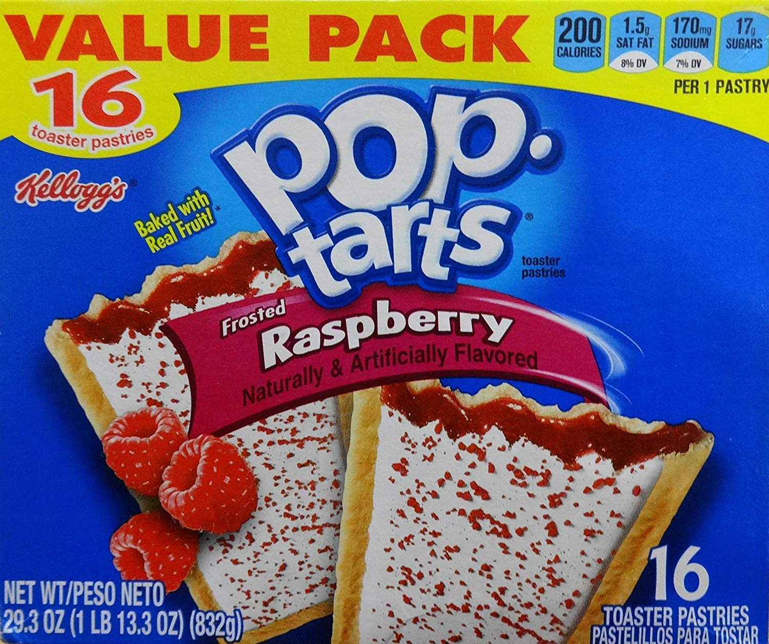 Pop Tarts Frosted Raspberry Toaster Pastries 29.3 Ounces (832g) 1 Box/16 Pastries