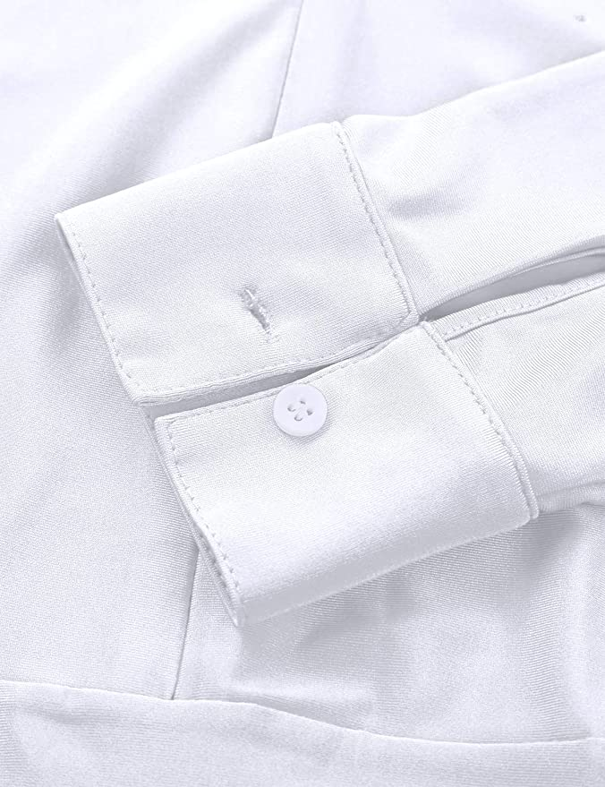 MSemis Homme Body Brillant /à Paillettes Col V Chemise Manches Longues Unitard Haut de Danse Shirt Body Justaucorps Maillot de Corps M-2XL