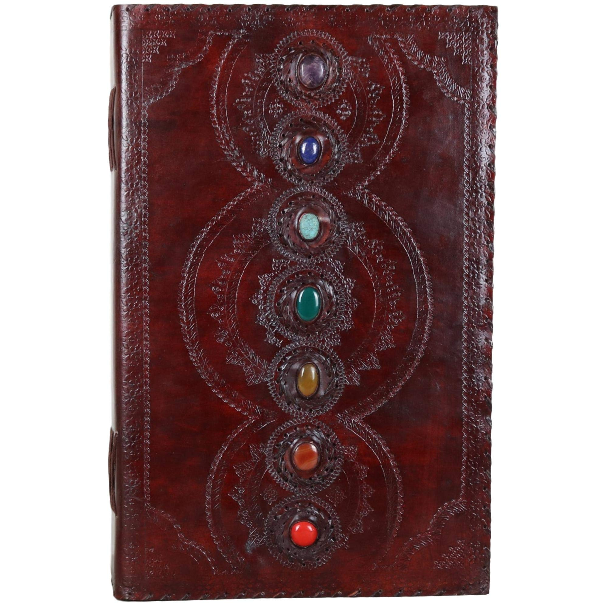Seven Stone Leather Journal Handmade Notebook Unlined Blank 600 Pages 13 1/2 X 22 inches by  (Image #2)