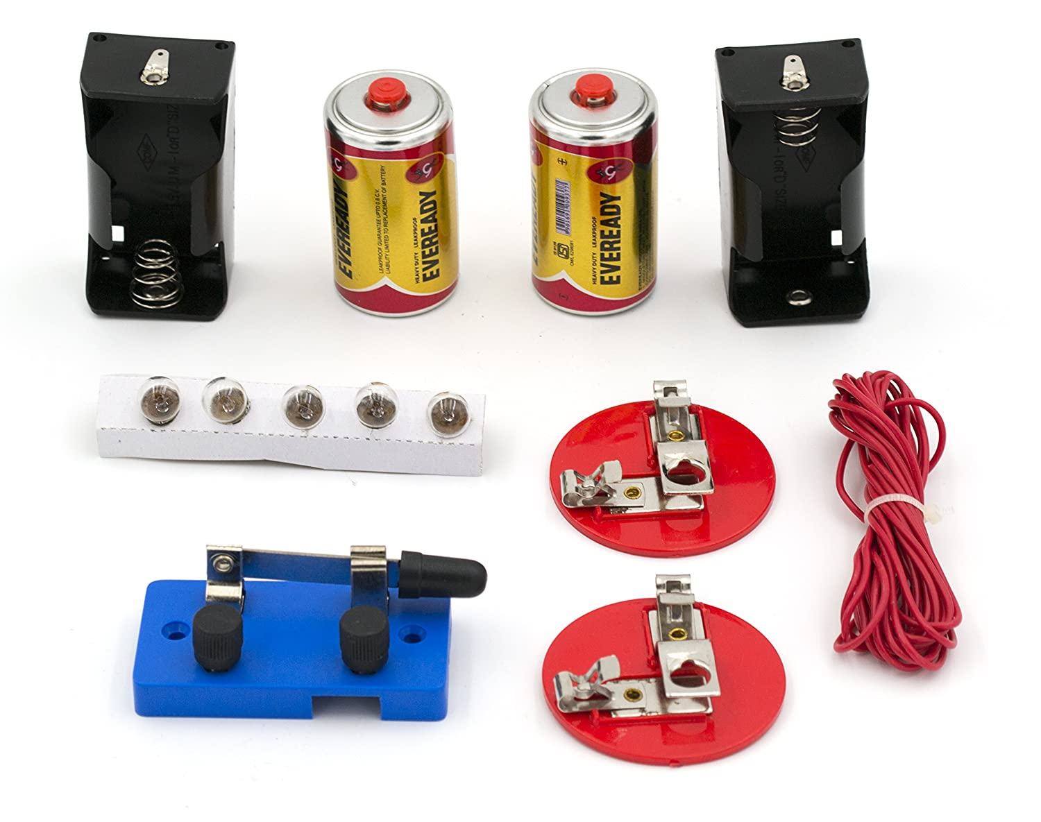 Eisco Labs Basic Beginner Circuit Kit For Teaching Series And Two Lightbulbs On A Parallel With One Light Switch Circuits 2 D Batteries W Holders 5 Bulbs