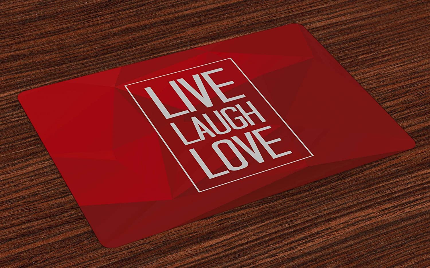 Ambesonne Live Laugh Love Place Mats Set of 4, Abstract Triangle Polygon Background with a Words in Rectangular Frame, Washable Fabric Placemats for Dining Room Kitchen Table Decor, White Red