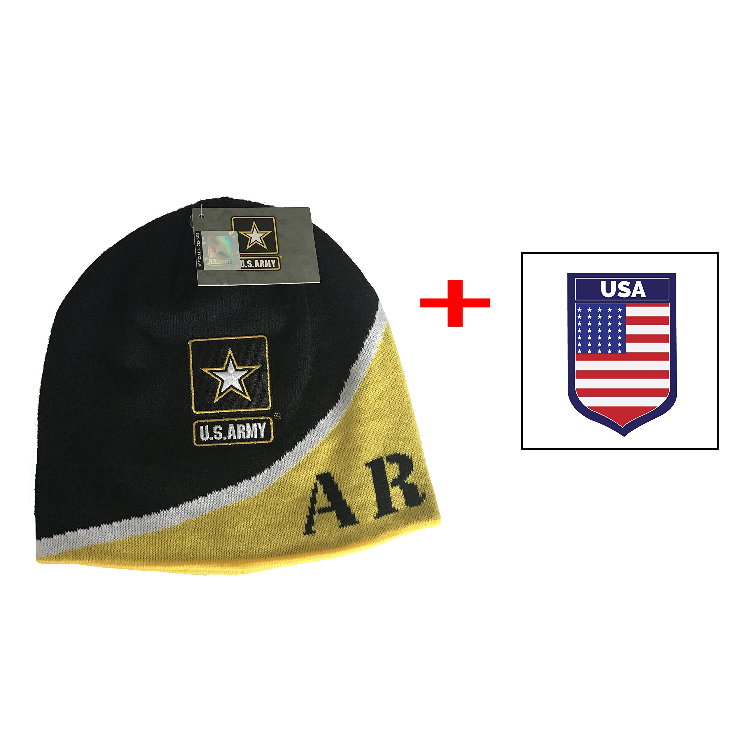 Army United States Logo Beanie Pom Cap Official Merchandise US Military (Black Dig)