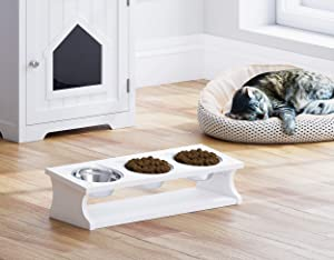 PAWLAND Raised Cat Bowls Elevated Stainless Steel Dog Cat Bowls with Stand Pet Feeder Food Water Bowls for Cats and Small Dogs