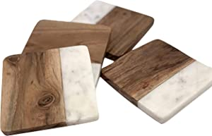 Coasters Marble coasters Cute Coasters Real Marble Coasters Modern Coasters - Set of 4 Greek Marble and Acacia Coasters Protect your furniture, cork bottom, anti scratch, absorbent