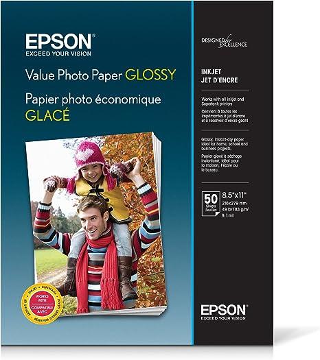 Papel Epson fotográfico brillante de valor, tamaño carta, 50 hojas ...