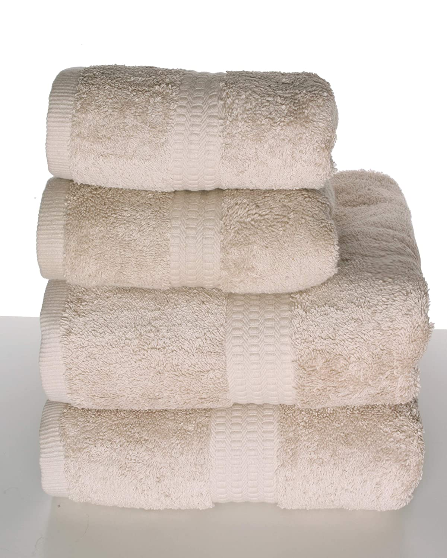 PimpamTex - Juego de Toallas Premium 700 Gramos de Secado Rápido para Baño, 100% Algodón, Pack Toallas de Baño + Toallas de Mano - (Arena, 2 de 70x140 cm + ...