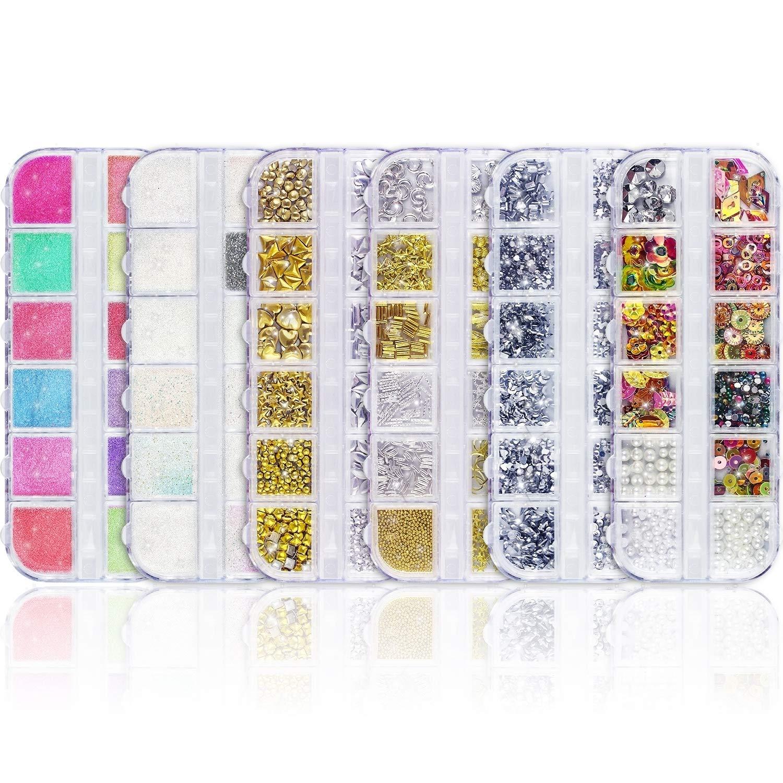 Nail Art Tools - Pinceles de 8 tamaños, 5 rotuladores para tallar/puntear, 12 adhesivos de estilo/plantillas