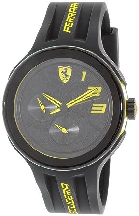 420d4acbd1bdc Amazon.com  Ferrari Men s Scuderia 0830224 Black Silicone Quartz ...