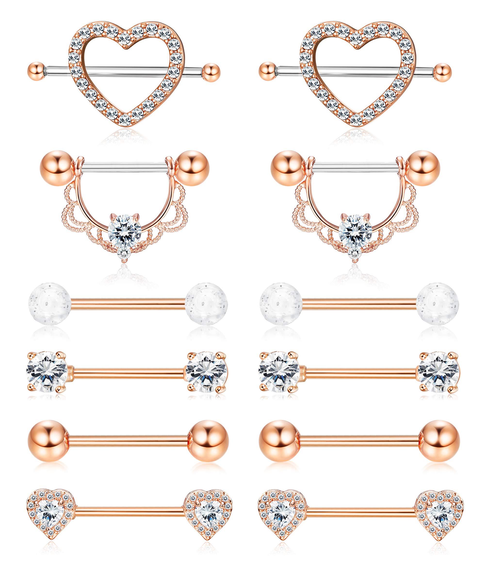 ORAZIO 14G Nipplerings Piercing Women Stainless Steel CZ Nipple Rings Jewelry Rose Gold Tone by ORAZIO