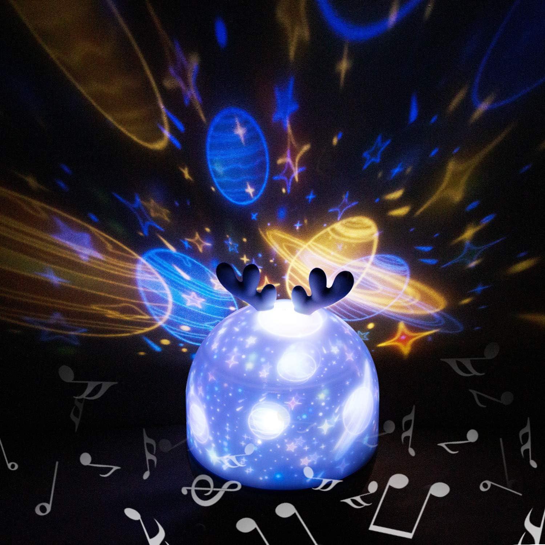 Lampada Proiettore Bambini,Hepside Proiettore Stelle Soffitto Musicale 360/°Rotazione Lampada Notturna per Bambini con Telecomando Lampada Magica 5 Modalit/à Luce Notturna per Neonati,Compleanno,Natale