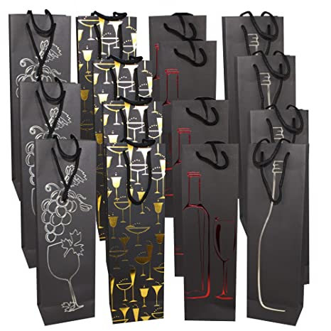 Paquete de 15 Bolsas de Regalo de Vino Premium - Elegante y Con Estilo Bolsas Botella Vino - Papel Resistente de Alta Calidad con Manijas de Cuerda ...