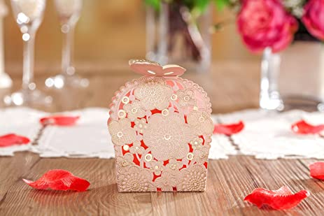 Amazon wishmade laser cut wedding favor boxes candy bags pink wishmade laser cut wedding favor boxes candy bags pink and gold party supplies butterfly release box junglespirit Image collections