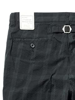Seersucker Cropped Pants 11-23-0478-139: Black Watch