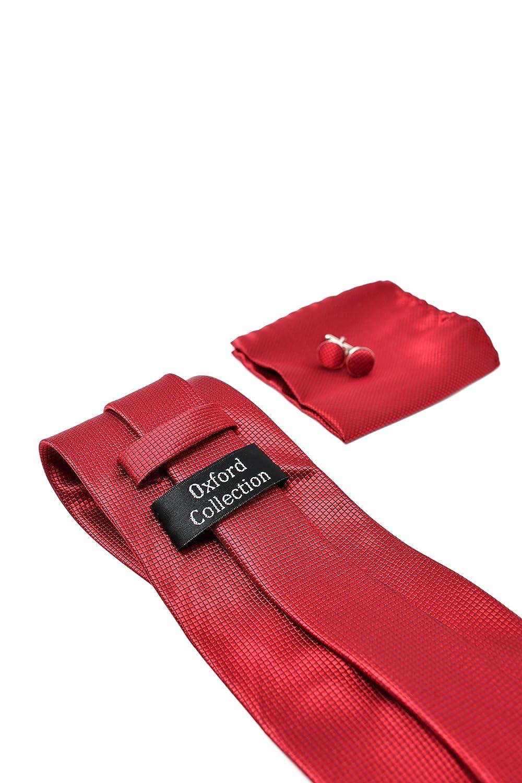 100/% Seda Oxford Collection Corbata de hombre Cl/ásico Elegante y Moderno - Pa/ñuelo de Bolsillo y Gemelos Rojo Caja y Conjunto de Regalo, ideal para una boda, con un traje, en la oficina.