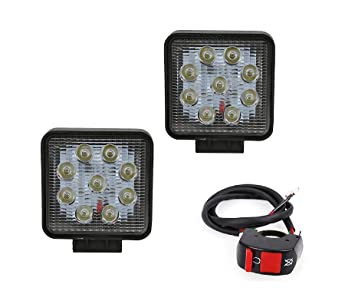 Auto Hub 27 Watt 9 LED Bike Light Anti Fog Lights Lamp Bar with Switch: Amazon.in: Car & Motorbike