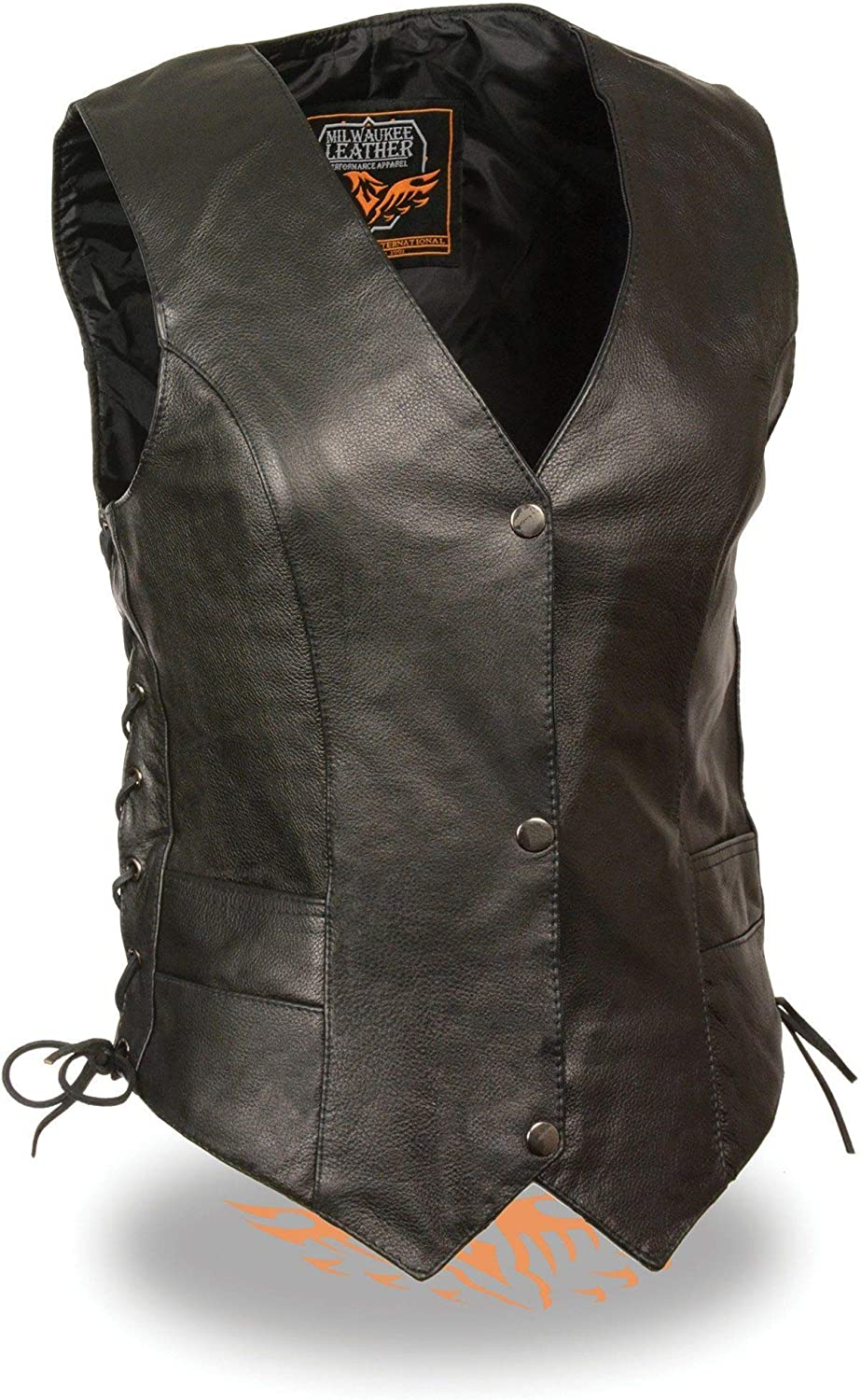 Small Milwaukee Leather ML1254 Ladies Classic Black Side Lace Leather Vest