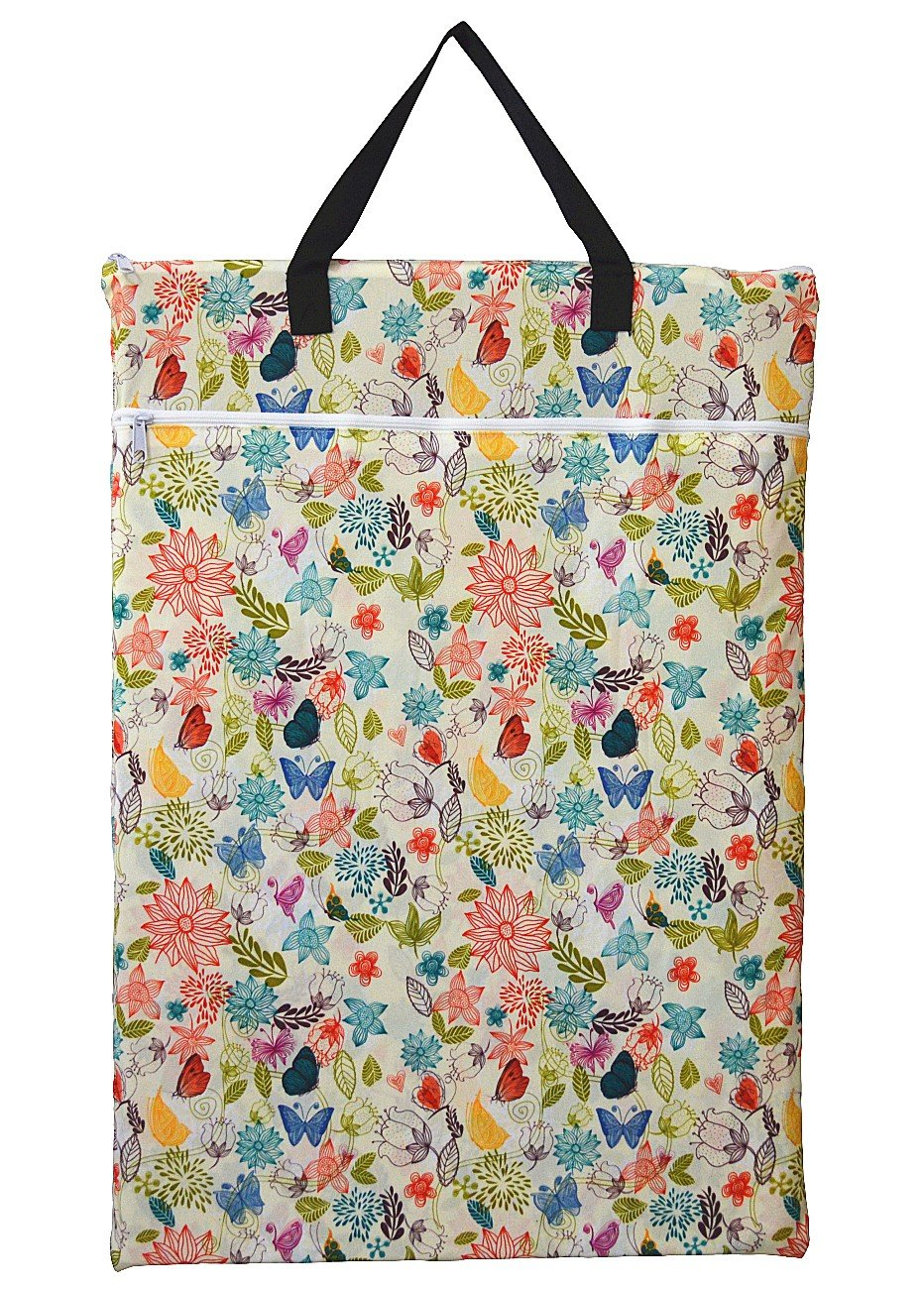 Large Hanging Wet/dry Cloth Diaper Pail Bag for Reusable Diapers or Laundry (Bloom) by Hibaby