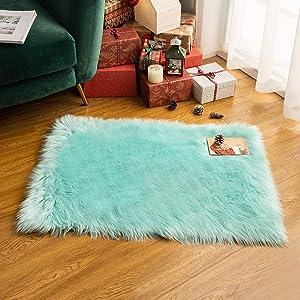 MIULEE Luxury Super Soft Fluffy Area Rug Faux Fur Rectangle Rug Decorative Plush Shaggy Carpet for Bedside Sofa Floor Nursery 2 x 3 Feet, Aqua Green