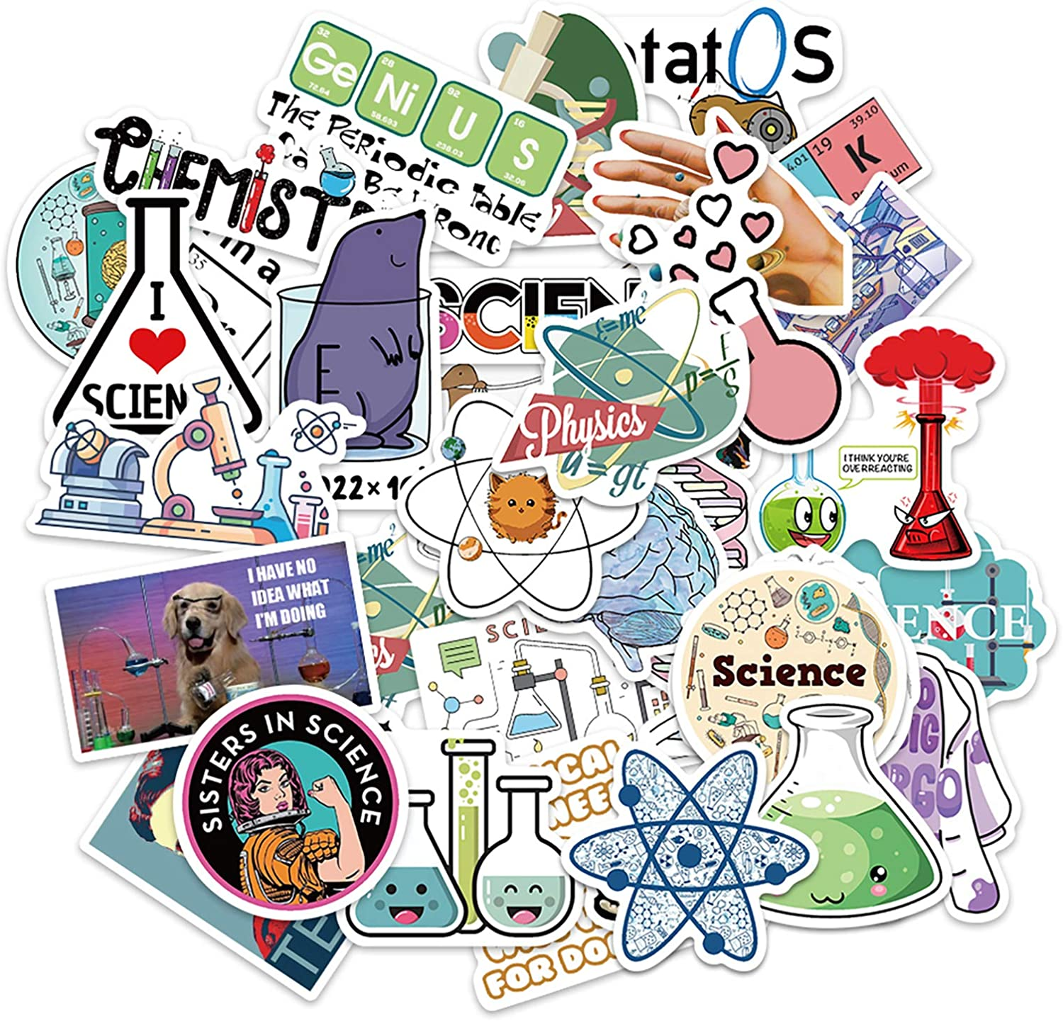 50 Pcs Science Stickers Experiment Decals for Water Bottle Hydro Flask Laptop Luggage Car Bike Bicycle Waterproof Vinyl Lab Stickers Pack