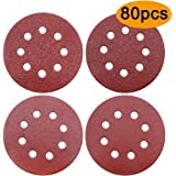 80 Pieces Sanding Discs 40/60/80/120 Assorted Grits Sandpaper Hook and Loop 8 Holes 125mm(5 Inch) Discs Pads for Random Orbital Sander