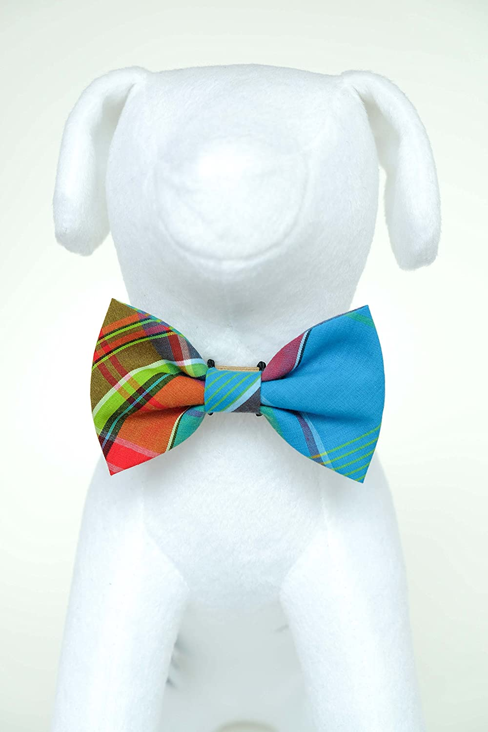 colorful Tartan Hand Stitched Dog Cat Pet Bow Tie Bowtie Collar Accessory (Collar Not Included)