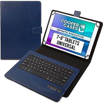 Cooper Infinite Ejecutivo Funda con Teclado para Tableta de 7 a 8 Pulgada | Universal | 2-in-1 Bluetooth Wireless Keyboard e Foglio Case Cover (Azul)