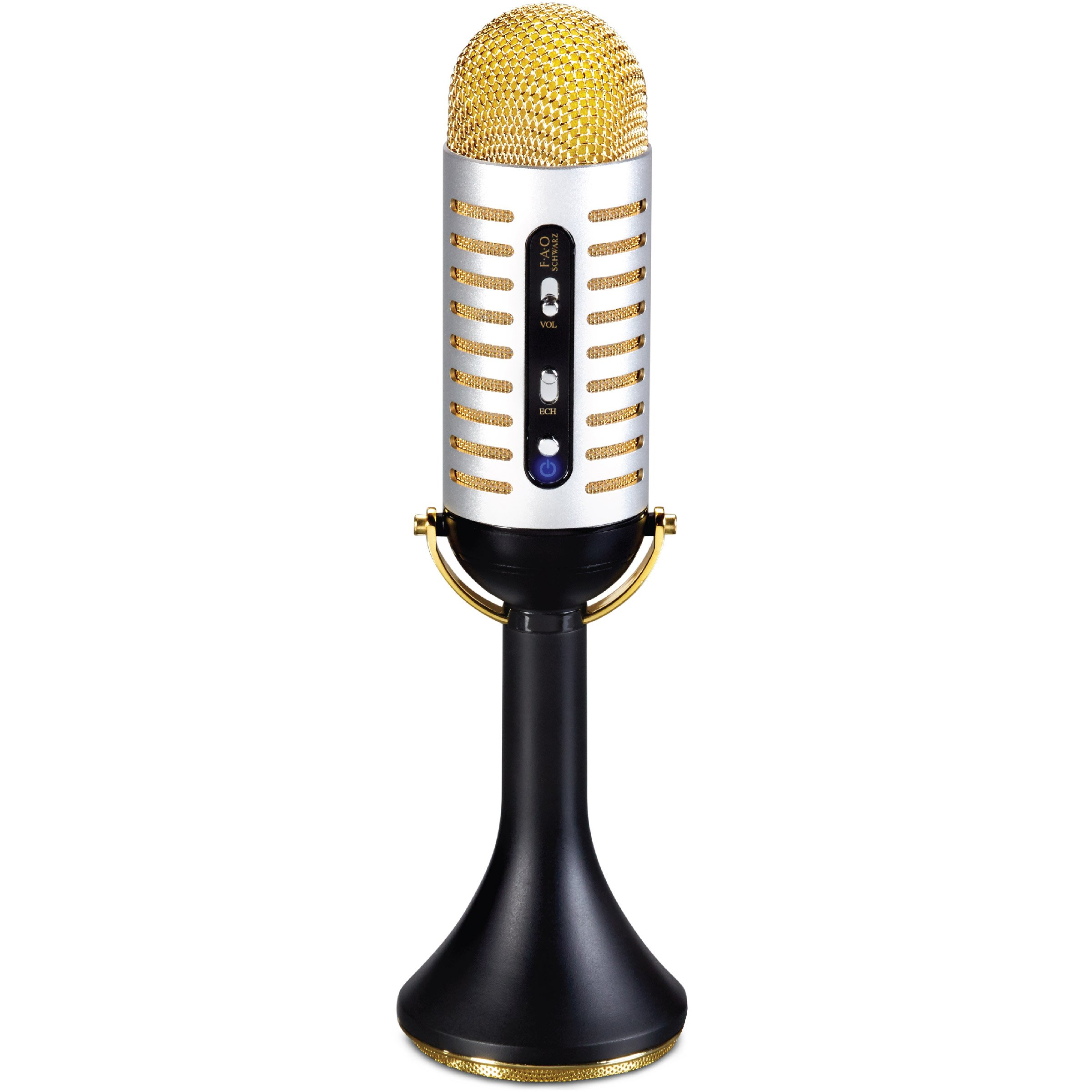 FAO Schwarz Karaoke Music Microphone w/Built-in Portable Handheld Speaker for Parties, Bluetooth & Smartphone Compatible, Vintage 20s Ribbon Style, USB, AUX Cable & Headphone Jacks, Rechargeable by FAO Schwarz