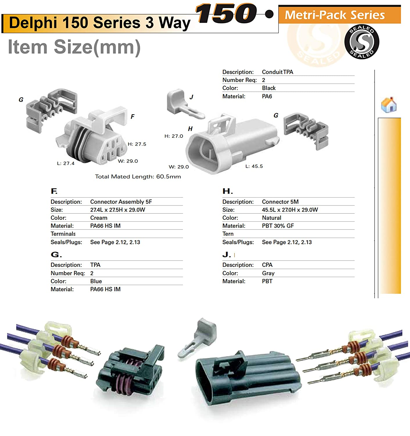 Delphi Metri-Pack 150 Series 5-Way Connector w//20-22 AWG Sealed 14 AMP