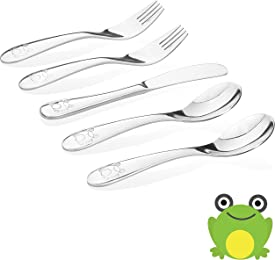 Kiddobloom Kids Stainless Steel Utensil Set,Frog Model, set of 5 (2 Spoons, 2 Forks, and 1 Butter Knife) Safe Flatware for Toddler and Kids