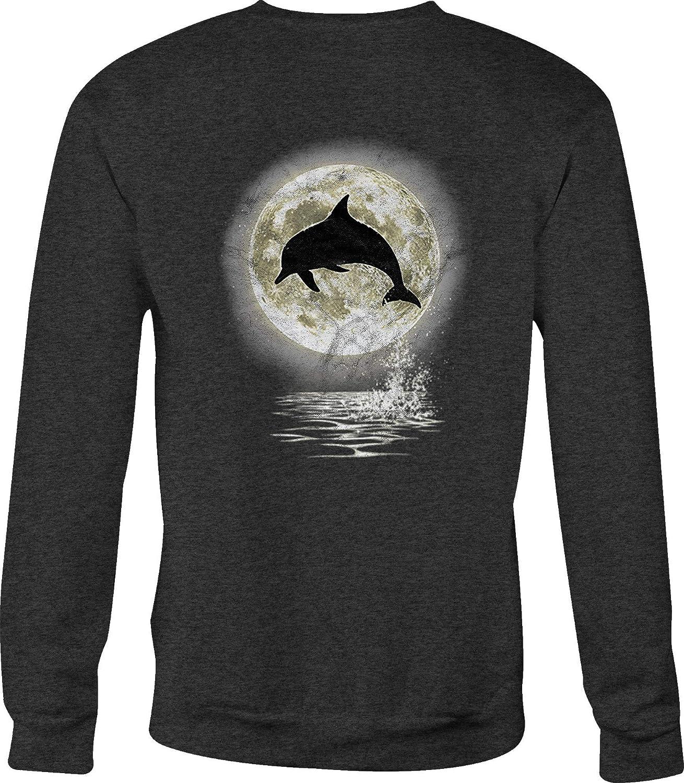 Crewneck Sweatshirt Dolphin Silhouette Full Moon Jumping Ocean