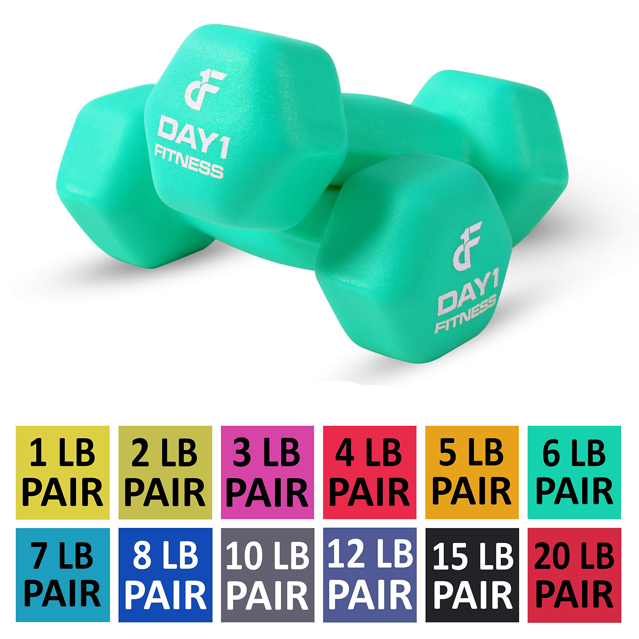 Day 1 Fitness Neoprene Dumbbell Pairs 6 Pounds - Non-Slip, Hexagon Shape, Color Coded, Easy to Read Hand Weights for Muscle Toning, Strength Building, Weight Loss
