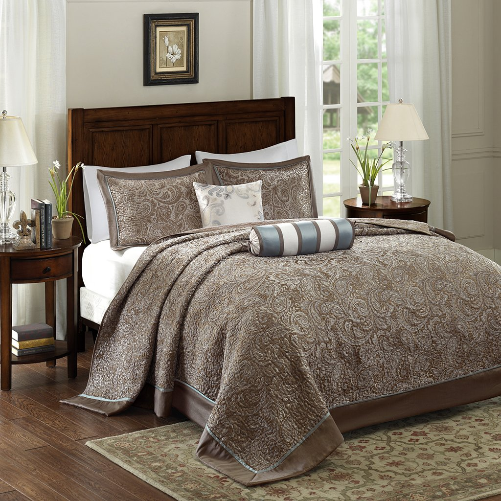 Aubrey 5 Piece Jacquard Bedspread Set Blue Queen by Madison Park