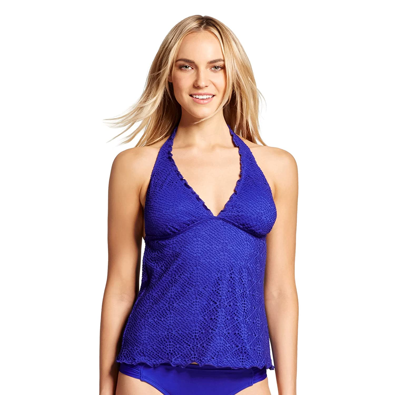 c109ce73eeb Mossimo Women's Crocheted Halter Tankini Swimsuit Top w/ Scalloped Edges