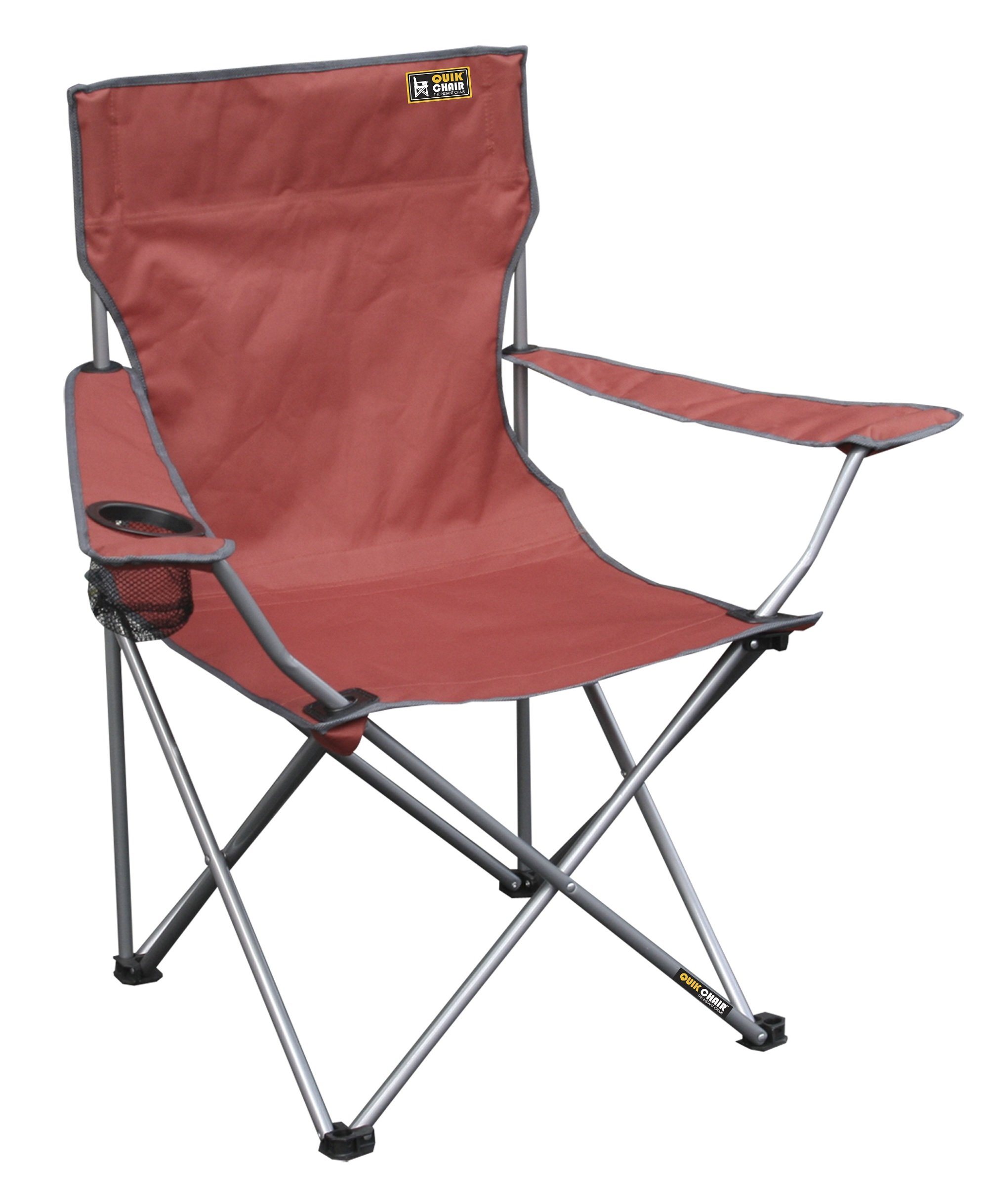 Quik Chair Portable Folding Chair with Arm Rest Cup Holder and Carrying and Storage Bag, Red by Quik Shade
