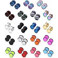 SAILIMUE 19 Pairs Stainless Steel Men Earrings Studs Ear Piercing Plugs Tunnel Screw Design Fake Gauges Earrings Flat…