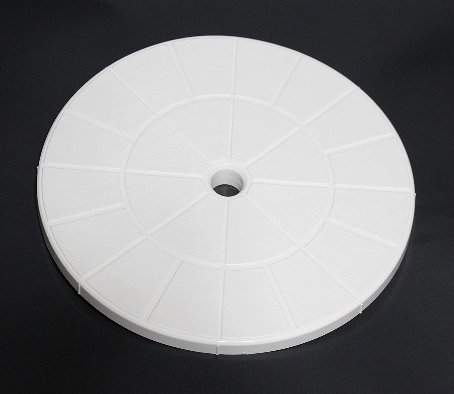 "JSP Manufacturing Swimming Pool Skimmer Cover Debris Canister Deck Lid 9 1/8"" Inch Skimmer Valve Lid White Replacement"
