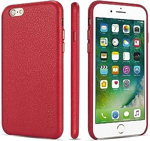 rejazz iPhone 6 Plus Case iPhone 6s Plus Case Anti-Scratch iPhone 6 Plus Cover iPhone 6s Cover Genuine Leather Apple iPhone Cases for iPhone 6/6s Plus (5.5 Inch)(Red)