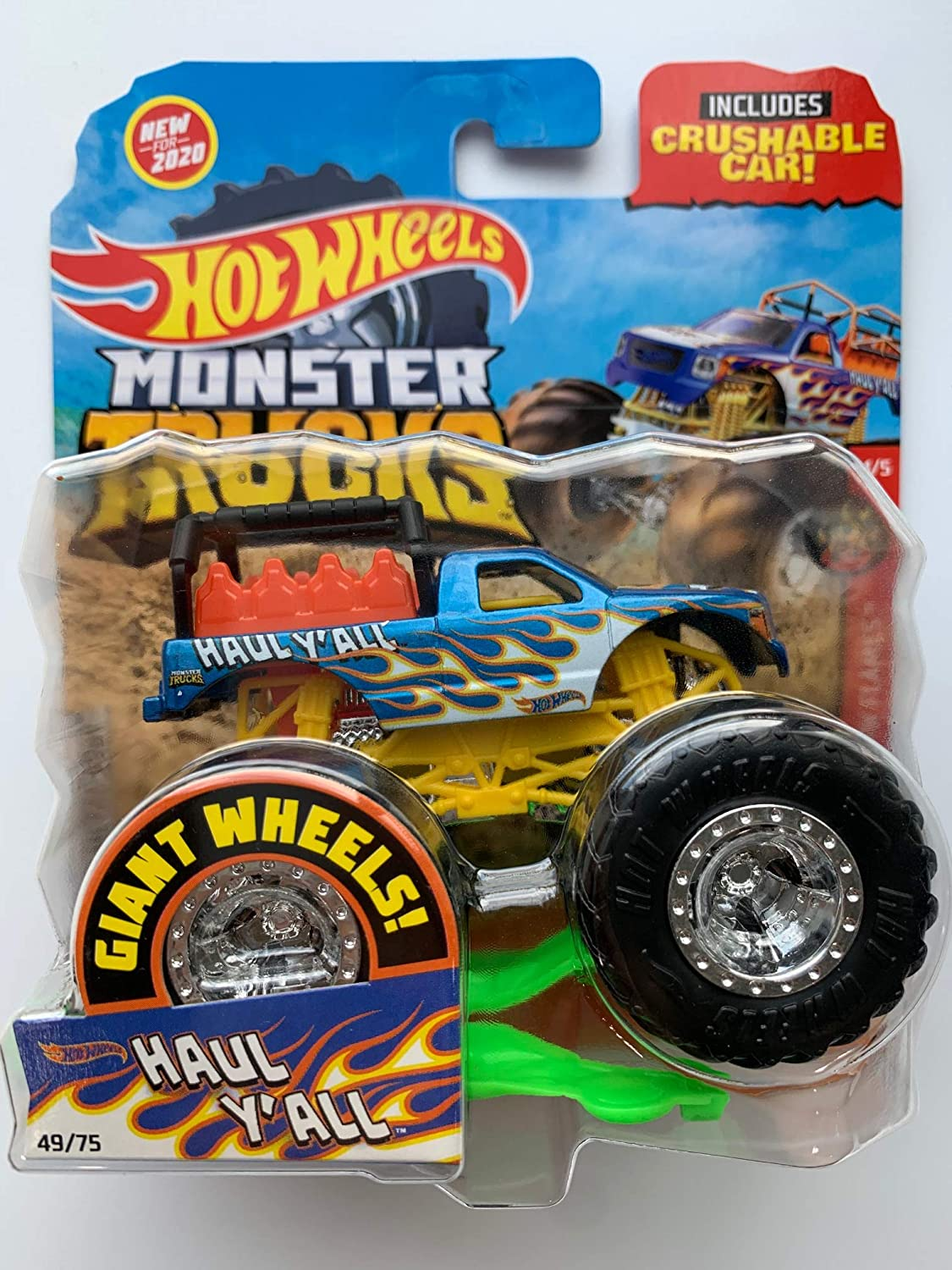 Amazon Com Hot Wheels Monster Trucks 2020 1 64 Scale Truck With Crushable Car 49 75 Hw Flames 4 5 Haul Y All Toys Games