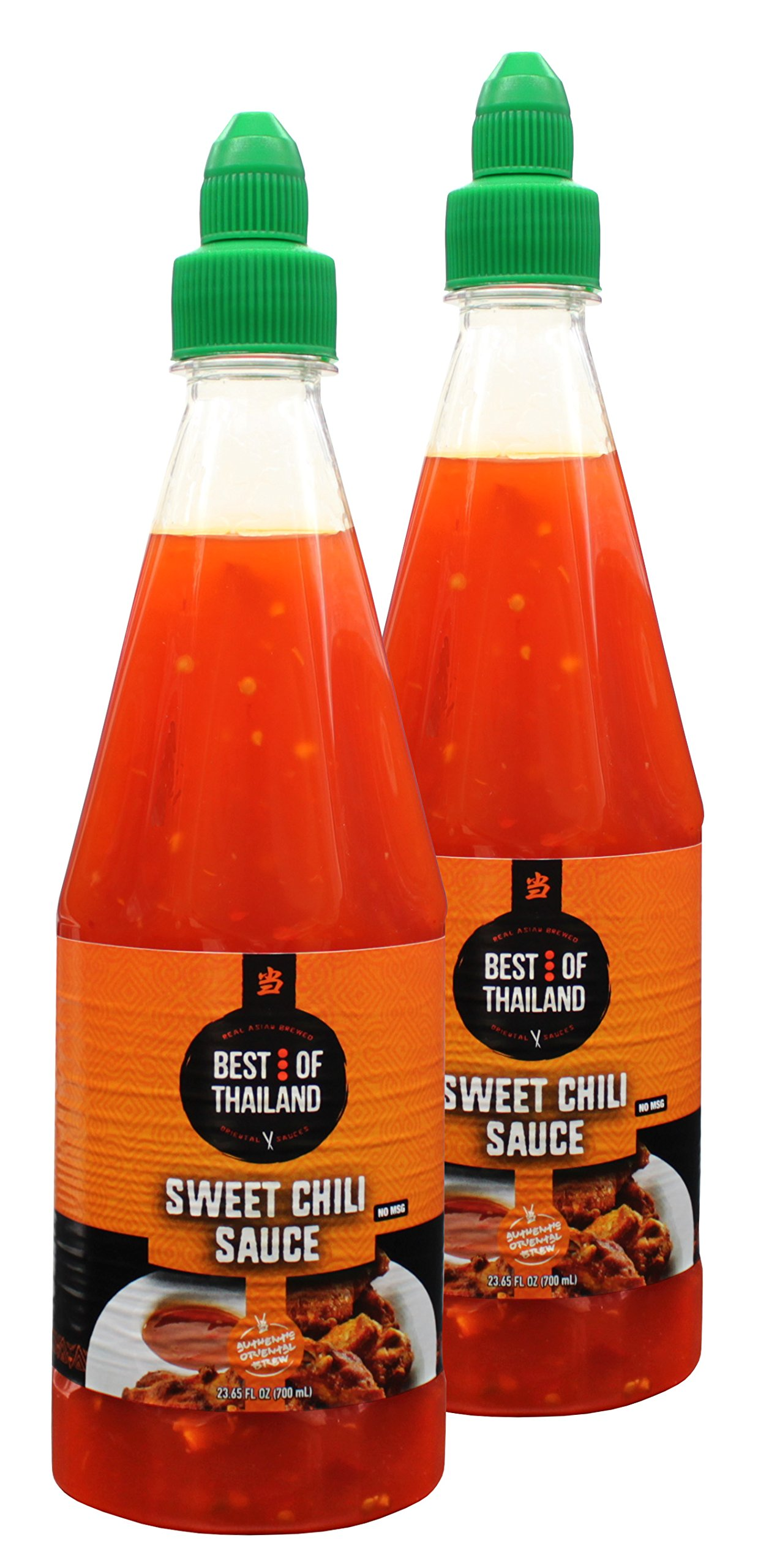 Sweet Chili Sauce (2 Pack) Real Asian Brewed – No MSG – Kosher Certified – Sweet & Spicy Dressing for Barbeque Chicken, Grilled Food, Fish, Meat – Convenient Bottle Size: 23.6 fl-oz – Best of Thailand by Best of Thailand