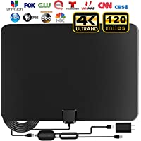 [Updated 2020 ] TV Antenna, Indoor Amplified Digital HDTV Antenna, 90-120 Miles Range Signal Booster for 4K 1080p Fire TV Stick Local Channels and All TV's