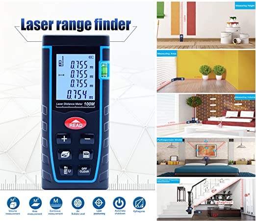 Laser Distance Measure, ieGeek 328ft Handheld M/In/Ft Laser Distance Meter Measuring Device Laser Tape Measure Rangefinder, Pythagorean Mode/Measure ...