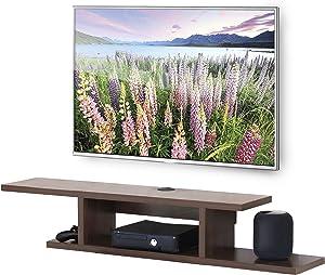 FITUEYES Floating Wall Mounted TV Console Storage Shelf Modern TV Stand Media Console Walnut DS211802WW