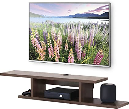 Amazon Com Fitueyes Floating Wall Mounted Tv Console Storage Shelf Modern Tv Stand Media Console Walnut Ds211802ww Furniture Decor