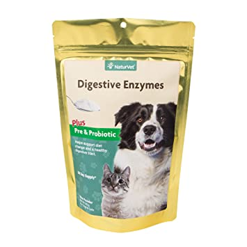 NaturVet Digestive Enzymes Plus Probiotic for Dogs and Cats, 10- oz Powder,  Made