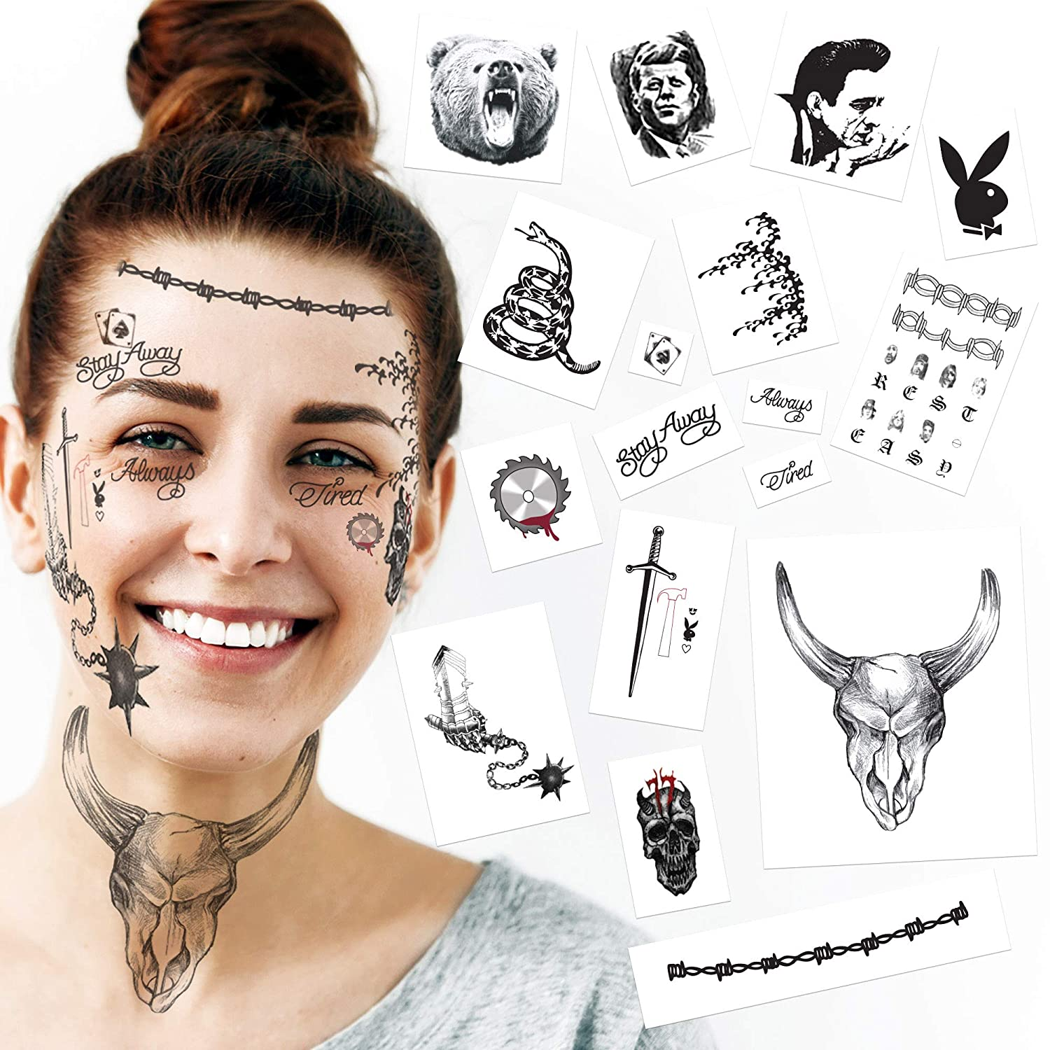 2020 Rapper Inspired Temporary Tattoos   35 Face, Neck & Hand Tattoos Including NEW 2020 Skull, Gauntlet, Buzzsaw & Hammer   Halloween Costume   Skin Safe   MADE IN THE USA