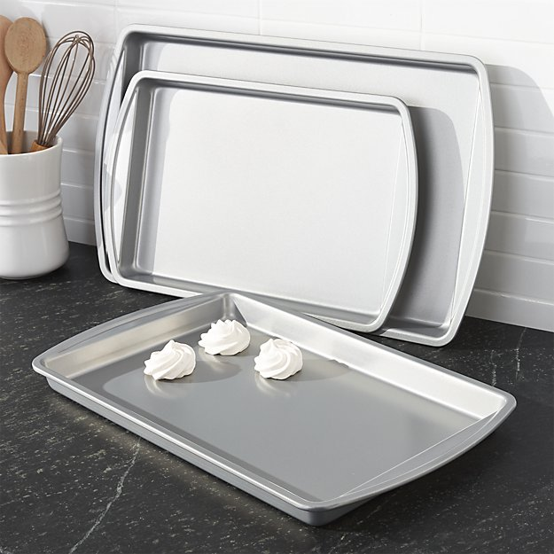 Set of 3 Non-Stick Baking Sheets | Crate and Barrel